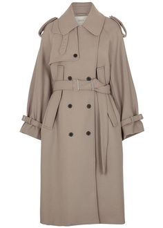 Mark Kenly Domino Tan Catrin Taupe Wool-Blend Trench Coat Wardrobe Fails, Tailored Coat, Belted Coat, Fall Trends, Wool Blend, White Tees, Who What Wear, Taupe, Winter Coat