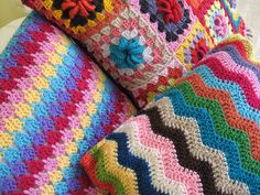 Crocheted cushions - closer by thornberry, via Flickr
