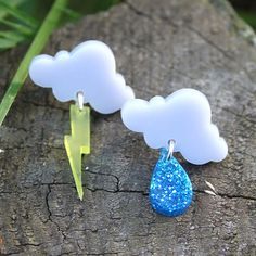 Cloud earrings  laser cut acrylic by sugarandvicedesigns on Etsy, £6.00