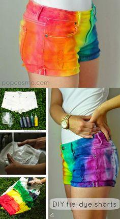 DIY Neon Fashion: DIY Clothes DIY Refashion: Tie-Dye Shorts (for Camp Rainbow. Hailey and maya this would be so fun to make Diy Clothes Refashion, Diy Clothing, Jeans Refashion, Diy Jeans, Shorts Tutorial, Diy Tutorial, Diy Tie Dye Shorts, Diy Pantalones Cortos, Ty Dye
