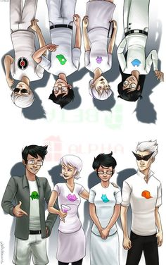 Kids alpha and beta- homestuck (top left: Dave Strider, John Egbert, Rose Lalonde, Jade Harley; bottom left: Jake English, Roxy Lalonde, Jane Crocker, Dirk Strider)