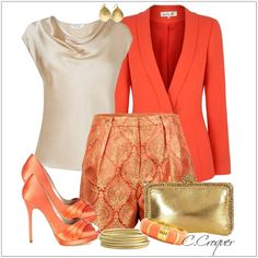 CHATA'S DAILY TIP: Orange continues to be an on-trend colour and looks incredible when co-ordinated with stone and gold accessories. If your legs allow you to wear short shorts then go for it; if not then replace the shorts with a straight skirt or tapered pants for the same effect. COPY CREDIT: Chata Romano Image Consultant Wendy Hind http://chataromano.com/consultant/wendy-hind-2/ IMAGE CREDIT: Fashion's Facebook page