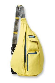 """The KAVU Rope Bag has so many uses. It's a durable day pack you can use on the trail or around town, and the perfect travel companion. It's functional enough for daily use and stylish enough to make a statement. Therope bag features an adjustable rope shoulder strap, two vertical zip compartments, two key or cell phone pockets, and a padded back with KAVU embroidery.    Measures:12 oz. :11"""" x 20""""   Rope Backpack by KAVU. Bags - Backpacks Kentucky"""