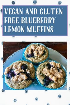Lemon Blueberry Muffins, Gluten Free Blueberry, Vegan Blueberry, Gluten Free Muffins, Blue Berry Muffins, My Recipes, Gluten Free Recipes, Lemon Uses, Grab And Go Breakfast