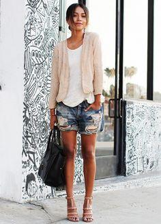 shorts, heels, beaded jacket