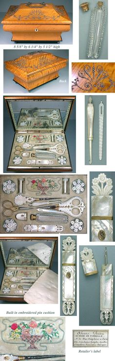 French Palais Royal Sewing box with built in embroidered pin cushion ~ Antique French Palais Royal Sewing or Work Box, Sarcophagus Shape w/ Faceted Steel Ornamentation