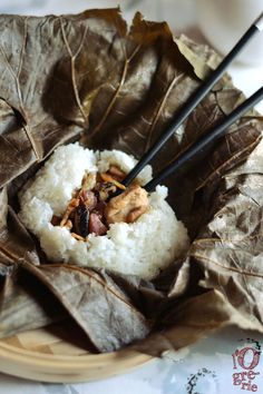 Cantonese Sticky Rice with Chicken wrapped in Lotus Leaf (Lo Mai Gai)