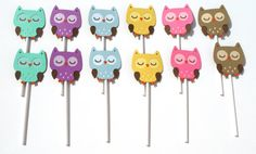 Items similar to 12 Owl Multi Colored Cupcake Toppers Birthday Party or Baby Shower - Woodland Themed on Etsy Owl Party Decorations, Party Themes, Party Ideas, Little Ones, Little Girls, Little Girl Birthday, Baby Shower Favors, Cupcake Toppers, Baby Showers