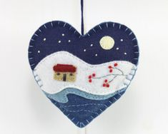 Winter cottage, starry night, felt Christmas ornament