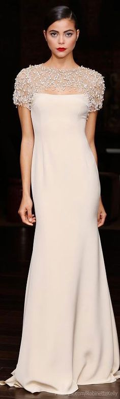 Naeem Khan Resort 2014~beautiful clean lines! Very elegant. This was made for a more curvaceous woman.