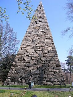 This is a memorial to all the fallen southern soldiers of the civil war, approx 18,000 of them are buried nearby. Built in 1869. I still don't really get why a pyramid, but it is really big!    Hollywood Cemetery, Richmond, VA