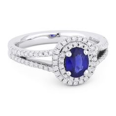 1.28ct Oval Cut Sapphire & Round Diamond Pave Double-Halo Engagement Ring in 18k White Gold - AlfredAndVincent.com