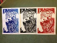 painting on card,bandana man,stencils & spraypaints,gangster,hispanic,los angeles,america,tattoos,europe,culture,abstrac