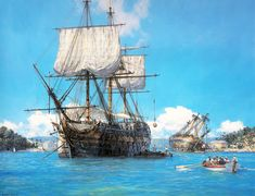 Geoff Hunt H. Trusty in English Harbour, Antigua - Scrimshaw Gallery - Geoff Hunt ' H. Trusty in English Harbour, Antigua' limited edition print. The ship Trusty - Utility Boat, Bateau Pirate, Old Sailing Ships, Ship Paintings, Naval History, Wooden Ship, Nautical Art, Navy Ships, Boat Plans