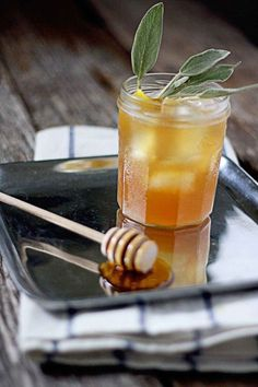 Favorite fall cocktail - The Hibernating Honey Bear - bourbon with honey sage syrup from insockmonkeyslipp...