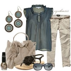 blue and khaki...Summer Outfit, created by cynthia335 on Polyvore