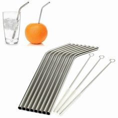 Newest Kitchen Bar Accessories 8 Pcs Stainless Straws With 3 Cleaner Brush Metal Drinking Straw Stainless Steel Bend Stainless Steel Straws, Stainless Steel Metal, Metal Straws, Brush Kit, Bar Accessories, Brushed Metal, Sustainable Living, Mug Cup, Drinking