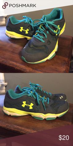 Under armour ladies tennis shoes Gently worn. Size 11. Cute lime green and turquoise accent colors. Light weight. Under Armour Shoes Athletic Shoes