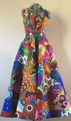 Reversible African Wax Print Coat Dress Double Patchwork Pumpkin Spice and Brilliant Color African Print Dresses, African Print Fashion, African Fashion Dresses, African Dress, Fashion Prints, African Attire, African Wear, Coatdress, Ankara Dress