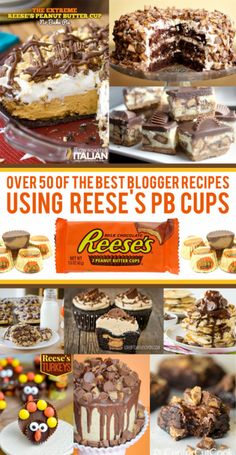50 Delicious Recipes Using Peanut Butter Cups. Great for using up Halloween candy!Over 50 Delicious Recipes Using Peanut Butter Cups. Great for using up Halloween candy! Reese's Recipes, Candy Recipes, Baking Recipes, Cookie Recipes, Dessert Recipes, Peanut Recipes, Recipe Using Peanut Butter Cups, Peanut Butter Desserts, Recipes
