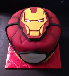 Iron man cake - could make the white thing more like the arc reactor and possibly light up.