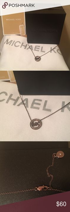 Michael Kors Necklace Brand new w/tags MKors necklace! This is a gorgeous chocolate necklace w/diamond stones around the MK logo. Diamond stone in center of circle w/clasp. 4th pic shows back of necklace. This is so so pretty, pics do not do it justice! I bought one for myself &I one to sell,only 2 were left. So,trying to pay it forward & share a beautiful MKors piece as well as an awesome deal! Michael Kors Jewelry Necklaces