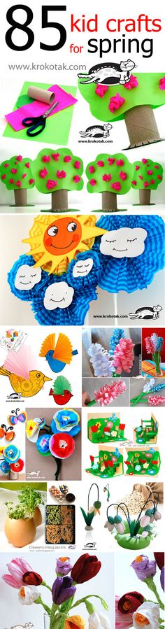 Tons of spring crafts for kids! Spring Crafts For Kids, Summer Crafts, Projects For Kids, Art For Kids, Craft Projects, Craft Ideas, Spring Activities, Craft Activities For Kids, Daycare Crafts