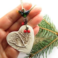 Items similar to Heart ornament, ceramic Christmas tree ornament, woodland pine tree heirloom ornament on Etsy – Hobbies paining body for kids and adult Polymer Clay Christmas, Ceramic Christmas Trees, Christmas Ornaments To Make, Clay Ornaments, Handmade Ornaments, Handmade Christmas, Christmas Crafts, Woodland Christmas, Ceramic Jewelry