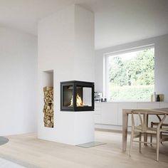 Living Room Decor Fireplace, Home Fireplace, Modern Fireplace, Fireplace Design, Home Living Room, 3 Sided Fireplace, Double Fireplace, Bedroom Bed Design, Home Room Design