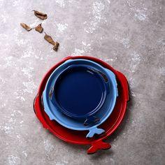 Creative faux enamel fish plate zakka red pizza home antique Japanese ceramic tableware baking dish