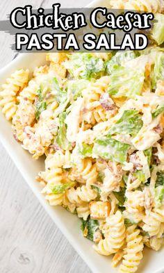 Cold Pasta Recipes, Chicken Pasta Salad Recipes, Chicken Caesar Pasta Salad, Creamy Pasta Salads, Pasta Salad Italian, Spinach Salads, Crab Salad, Pasta Dishes With Chicken, Salads