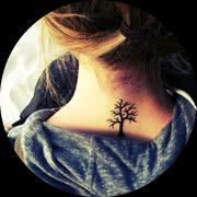 Small Tree Tattoo Design: On Back of Neck