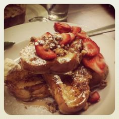 Whats for breakfast? @cody borgmans #LaJolla #ca #california #food #foodporn #sweettooth #frenchtoast #strawberry #vanilla #hazelnut #cold #weather