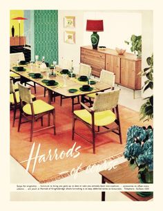 Old Ad From 1956 For Harrods Mid Century Modern Furniture 1950s Vintage