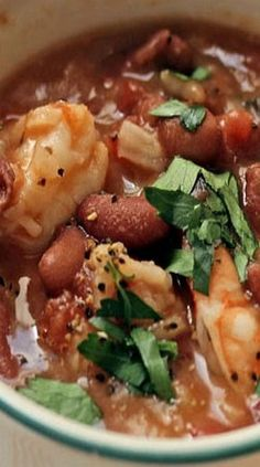 New Orleans Style Red Beans and Rice with Shrimp.