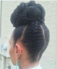 Braided natural updo