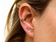 Silver Stud Earrings Sterling Silver Triangle Earrings Bohemian Jewelry - CST002SS