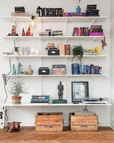 Nice styling by Alvem Makleri on what are normally fairly bland/boring shelves. The tricks in play are grouping of similar colours of books,. Track Shelving, The Design Files, My Room, Home Furniture, Shelf Furniture, Family Room, Sweet Home, New Homes, Room Decor