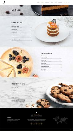 Introduce your baked delights in a mouth-watering way with Dolcino WordPress theme. Bakery Website, Restaurant Website Design, Cafe Menu Design, Food Website, Food Web Design, Food Graphic Design, Ui Design, Desserts Menu, Food Menu