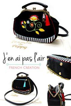 2a0083dc31 sac à main tendance vintage rétro cuir et velours noirs brodé sac créateur  sur mesure On
