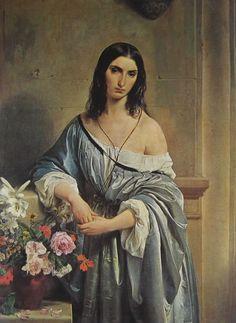 Francesco Hayez, PENSIERO MALINCONICO, 1842, olio su tela, cm. 135 x 98, Pinacoteca di Brera, Milano