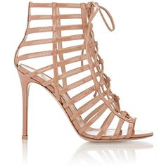 Gianvito Rossi Women's Caged Lace-Up Sandals found on Polyvore featuring shoes, sandals, heels, colorless, lace up stilettos, lace up sandals, open toe high heel sandals, stiletto heel sandals and clear sandals