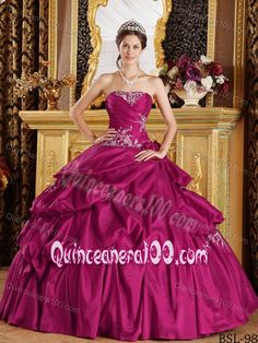 Chic Fuchsia Quinceanera Gowns with Pick-ups and Appliques
