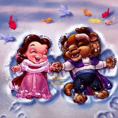 "eleazar_artIn honor of today's film release of Beauty and the Beast, I present you my illustration, ""Snow Angels."" I will get to see the film when I go home to LA in a week and with my own beloved. It will be worth the wait. Disney Babys, Cute Disney, Disney Dream, Disney Artwork, Disney Fan Art, Disney Drawings, Disney Animation, Disney Cartoons, Disney Movies"