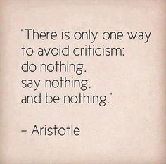 """""""There is only one way to avoid criticism: Do nothing, Say Nothing, And Be Nothing.' ~Aristotle"""