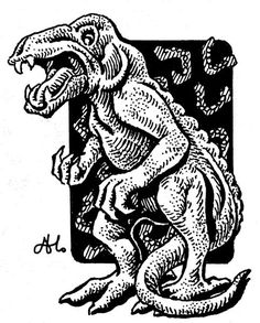 A bonesnapper - a five foot tall descendant of dinosaurs that likes to collect human bones in its subterranean lair. (Alan Hunter from the AD&D Fiend Folio, TSR, 1981.)