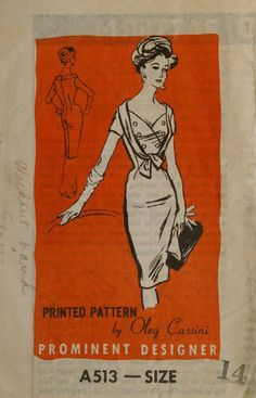 Prominent Designer A513 Wiggle Dress with Bodice Detail Oleg Cassini Vintage 60s Sewing Pattern Size 14. $85.00, via Etsy.