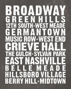 Nashville Neighborhoods Chalkboard