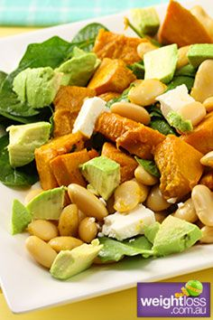Healthy Salad Recipes: Pumpkin and Spinach Salad. #HealthyRecipes #DietRecipes #WeightLoss #WeightlossRecipes weightloss.com.au