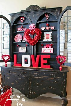 Gorgeous LOVE hutch! #valentines #hutch